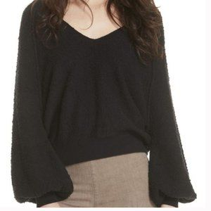 Free People Cotton Black V Neck Pull Over Sweater